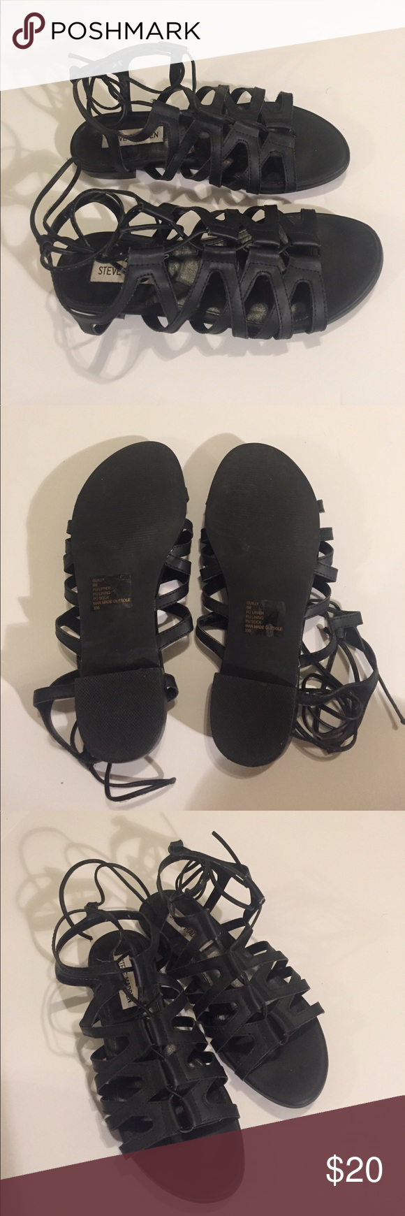 Steve Madden Sandals Black Steve Madden Sandals (worn only once). You can tie up and adjust to ankle. Steve Madden Shoes Sandals
