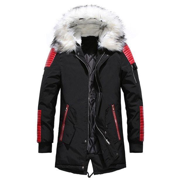 Men Winter Fur Collar Hooded Fleece Lined Outerwear Jackets Coats Asian Size!!