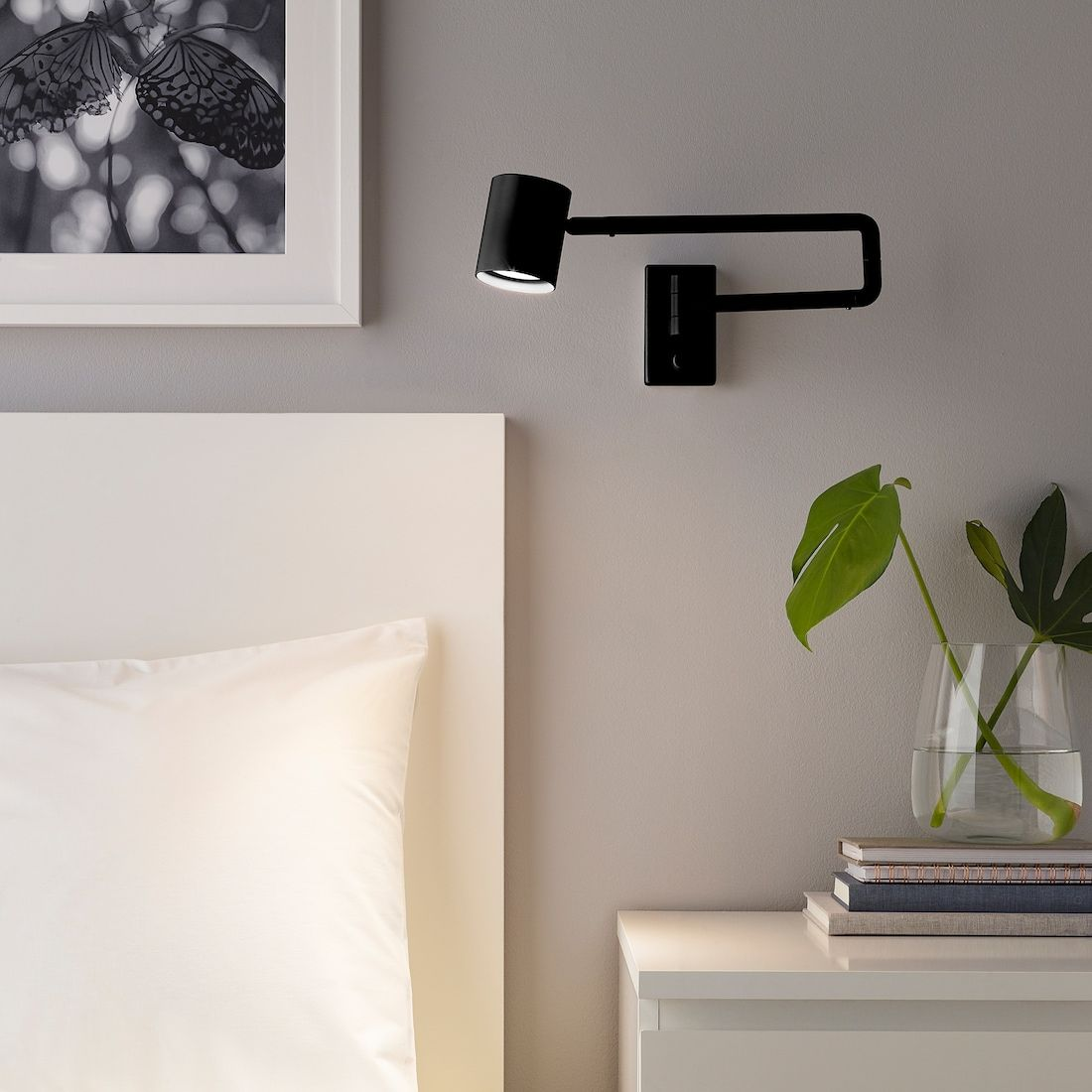 NymÅne Anthracite Wall Lamp W Swing Arm Wired In Ikea Wandleuchte Ikea Lampen Schlafzimmer Wandlampe