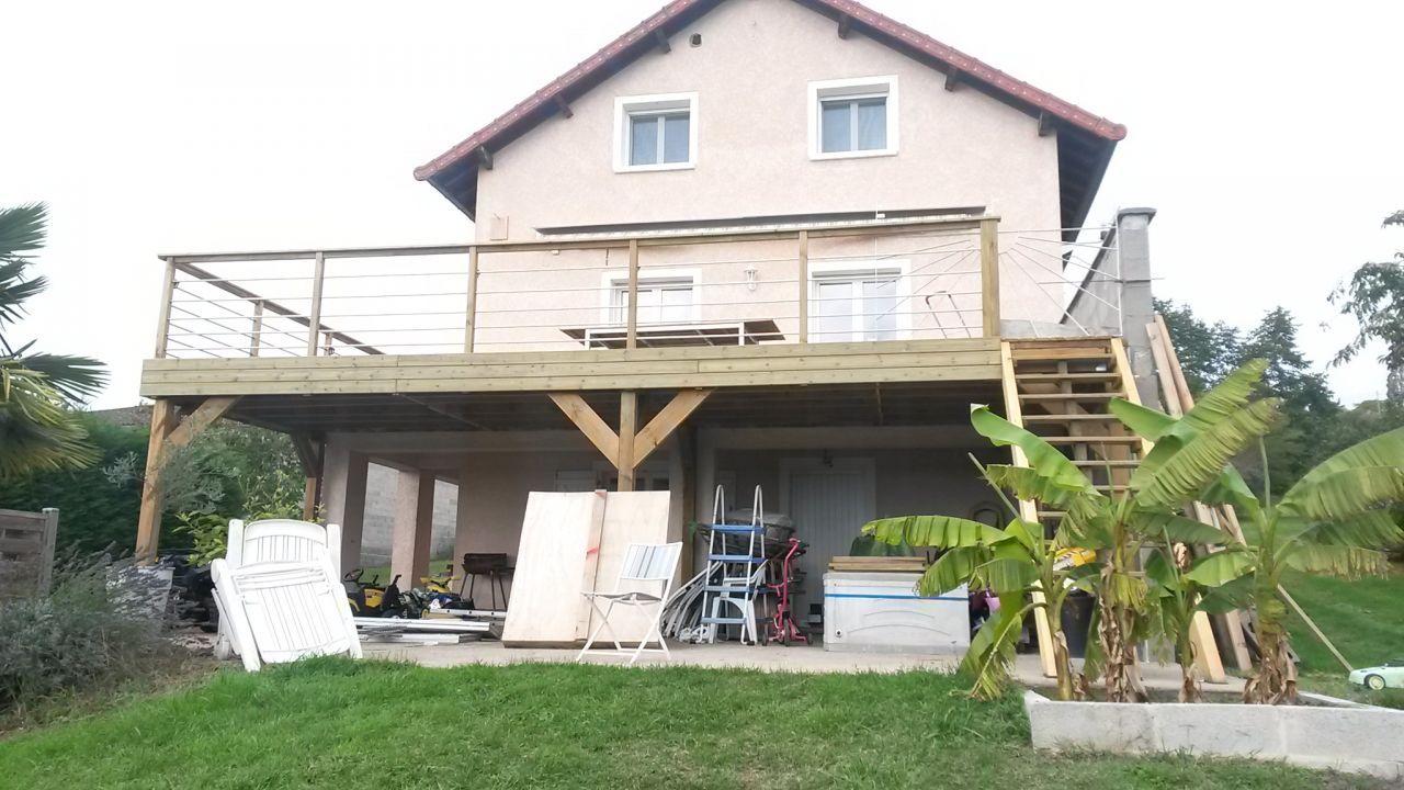 Vue Exterieure Maison Extension Bois Roanne