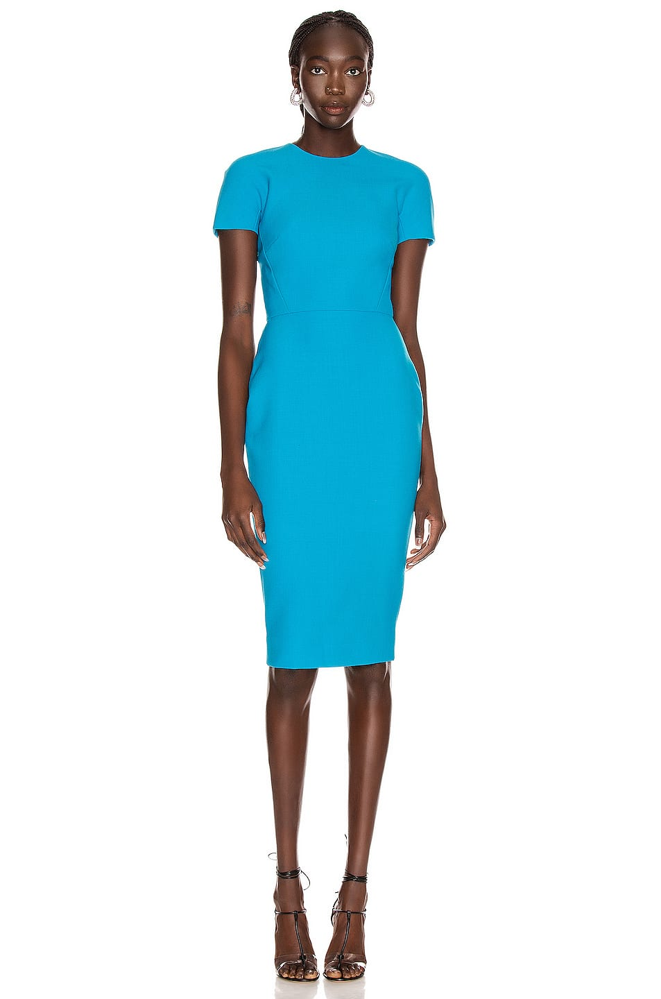 Add Some Color To Your Closet With This Eye Catching Blue Shirt Dress It Is Partially Lined With A Zip At The Back Fashion High Fashion Dresses Fitted Dress [ 1440 x 953 Pixel ]