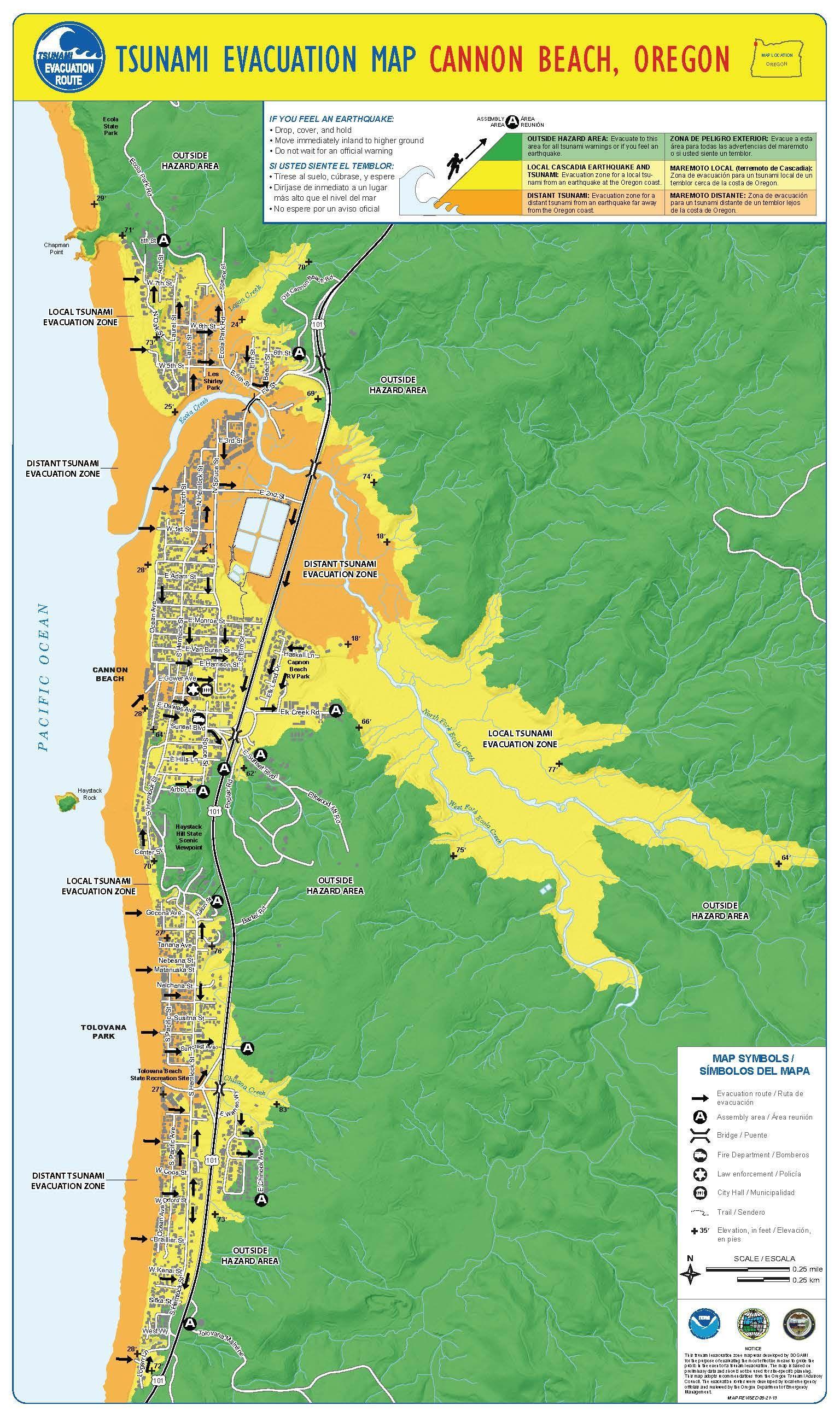 Tsunami evacuation map Cannon Beach Oregon by the Oregon
