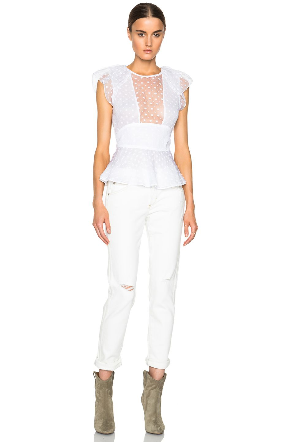 Image 5 of Isabel Marant Vermer Embroidered Organza Top in White