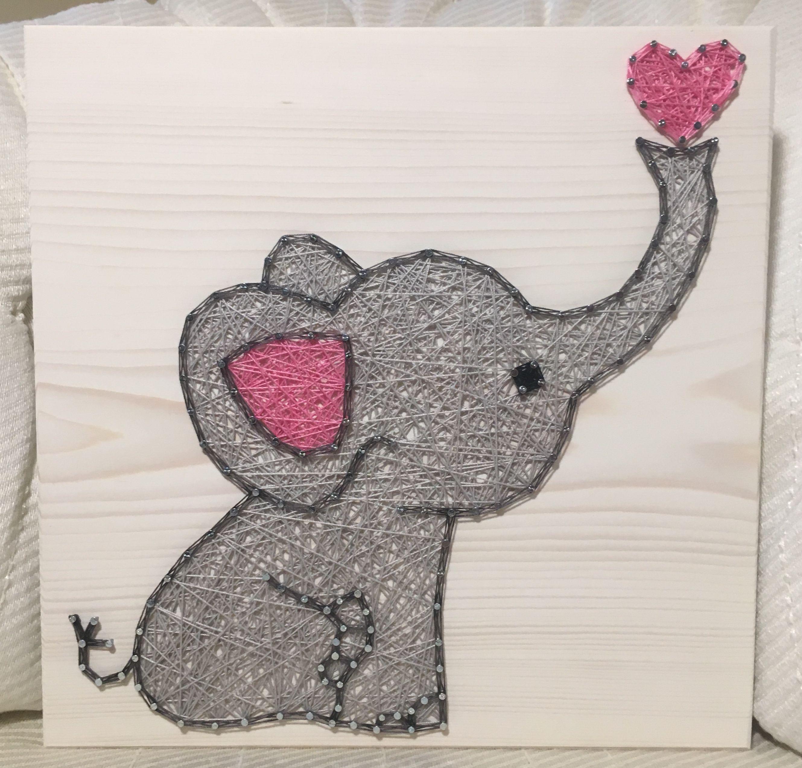 Elephant String Art, Nursery - order from KiwiStrings on Etsy! www.kiwistrings.etsy.com