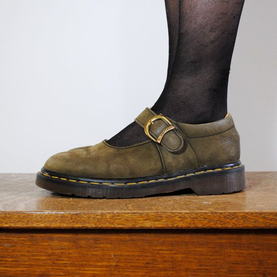f9b5449f213e0 vintage Doc Martens shoes / olive green suede mary janes   footwear ...