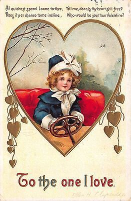 Clapsaddle Valentine Postcard Little Girl Driving Automobile Gold
