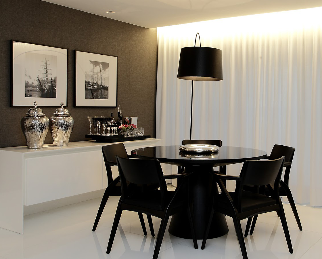 10 Salas De Jantar Com Mesas Redondas E Decor Sofisticado  -> Sala De Jantar Pequena Mesa Redonda Ou Retangular