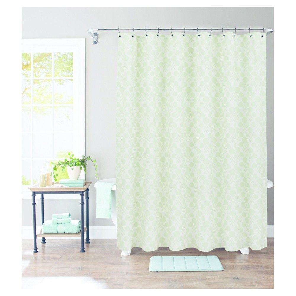 Suzani Stamp Shower Curtain Morning Frost Threshold Fabric