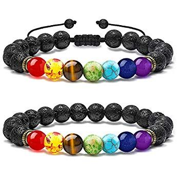 Natural & Alternative Remedies Lava Stones Bracelet Chakra Lava Stone With 2 Essential Oils