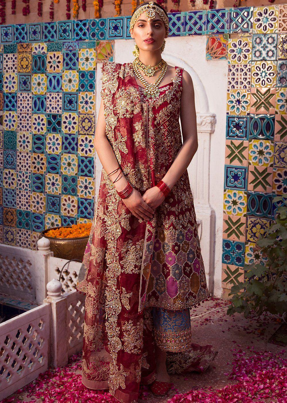 Pakistani Bridal Pashwaz in Red Color for Wedding J5157