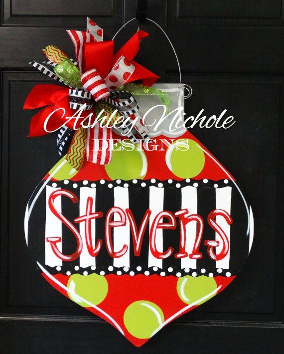 Last Name Christmas Ornament Door Hanger by DesignsAshleyNichole