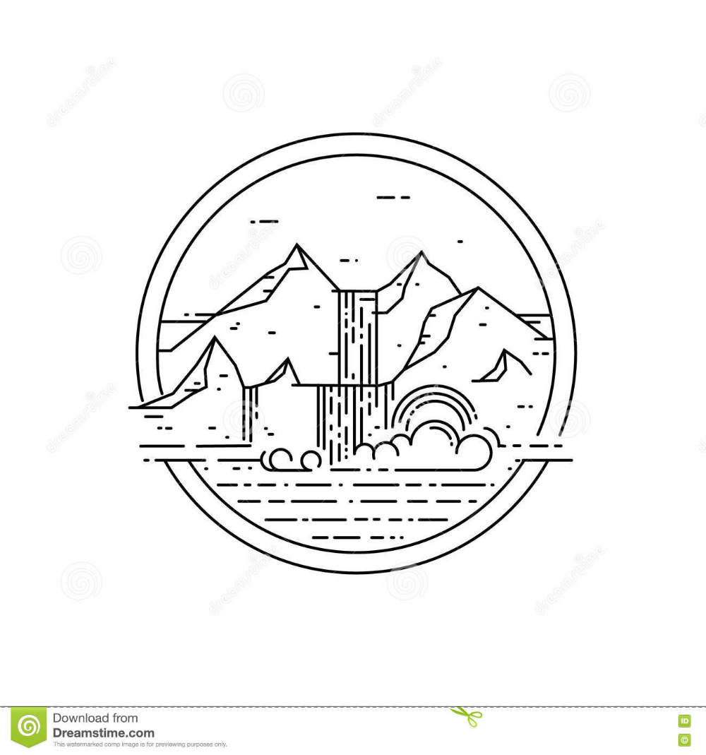 Vector Line Emblem With Mountain Landscape And Waterfall Stock Vector Illustration Of Abstract Beautiful In 2020 Waterfall Drawing Illustration Line Illustration
