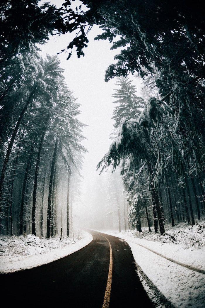 chemin autoroute desertique entourée de neige et grands sapins image fond ecran nature brimeux #fondecranhiver chemin autoroute desertique entourée de neige et grands sapins image fond ecran nature brimeux #fondecranhiver