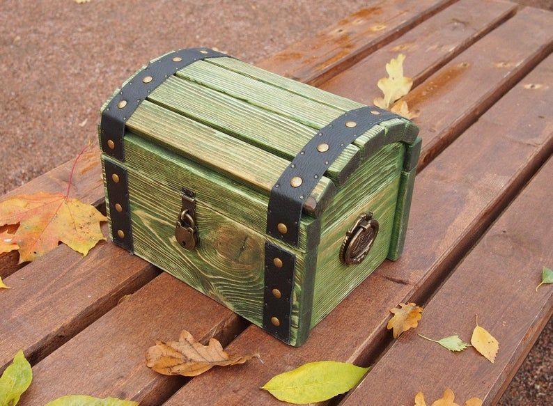Medium Wooden Storage Chest Green Wood Storage Box Treasure Chest Lock And Key Stash Box Lockable Wood Chest Box Chest With Lock In 2020 Wood Storage Box Wooden Storage Wood Jewelry Box