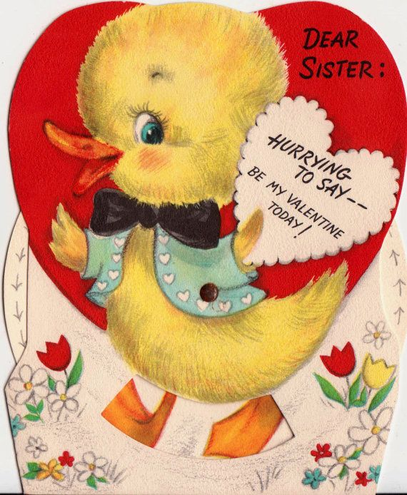 Vintage Hallmark UNUSED 1950s Dear Sister Hurrying To Say Be My Valentine Today Greetings Card (B7). $3.50, via Etsy.