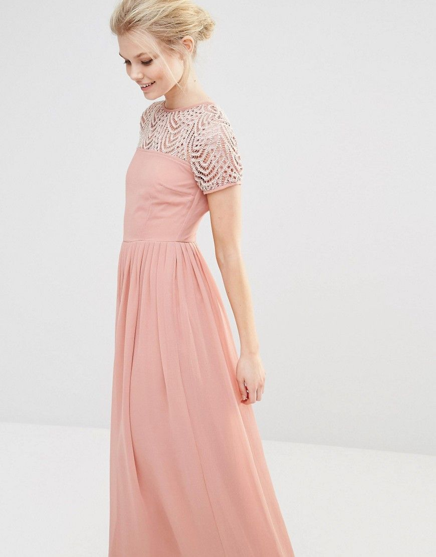 Maya Petite Pleated Maxi Dress With Pearl Embellishment | Pinterest