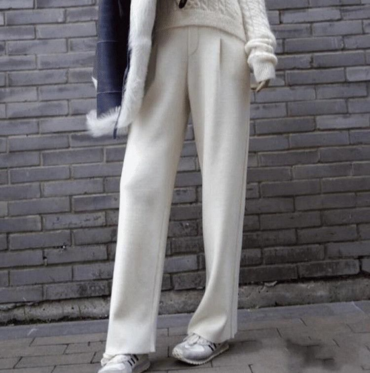 Fashion Women/'s Cashmere Blend Wide Leg Pants High Waist Loose Winter Trousers