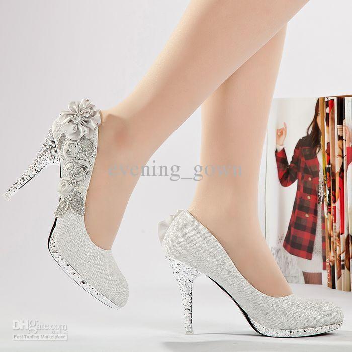 Fabulous Whole Silver Rhinestone Wedding Shoes Womens Dress Bride Sh016
