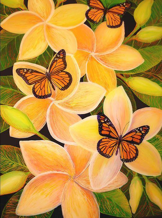 Butterfly Plumeria reverse acrylic on plexiglas for prints visit annaskaradzinska.com