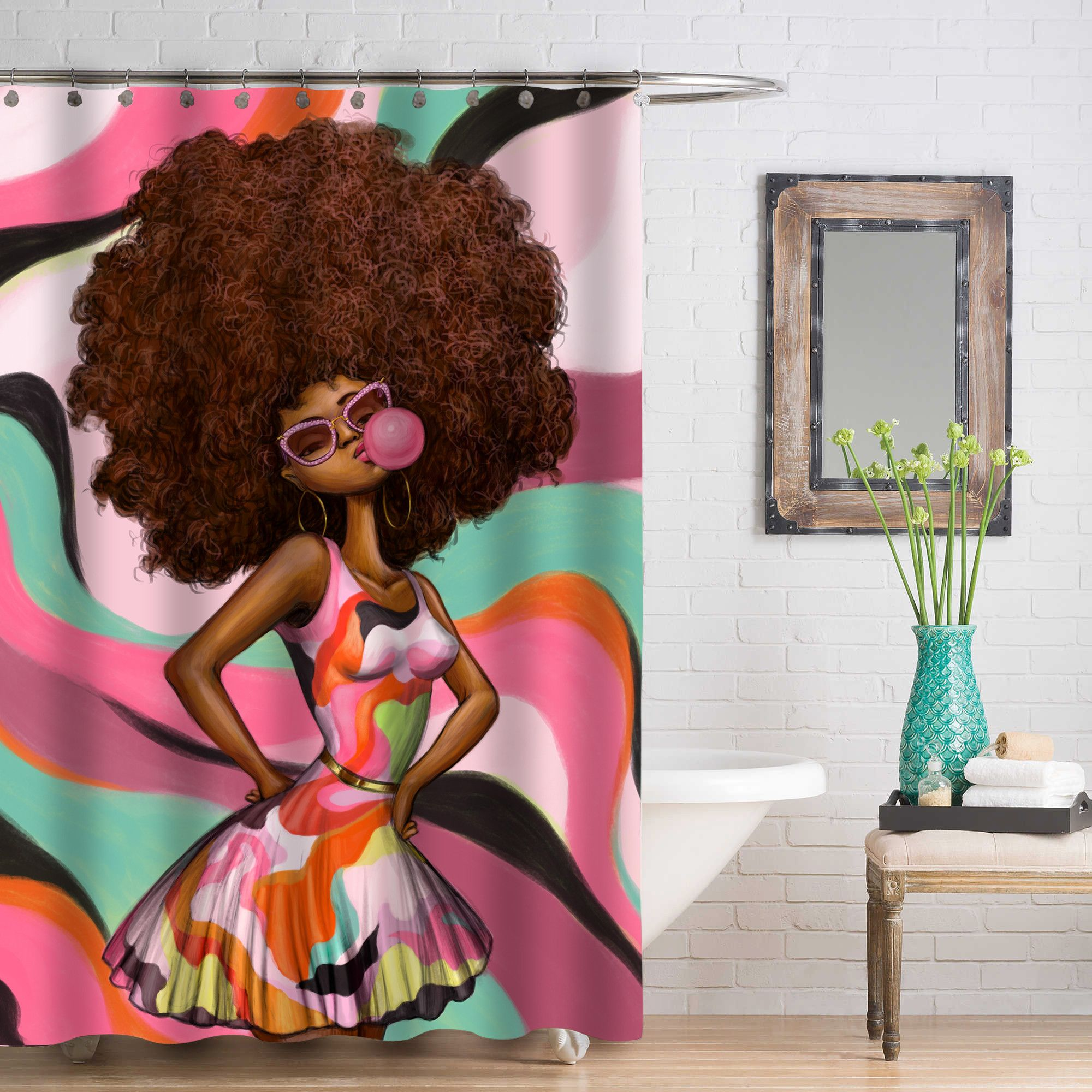 Lovely One Of A Kind Shower Curtains. All Hand Drawn Exclusive Designs. Only At