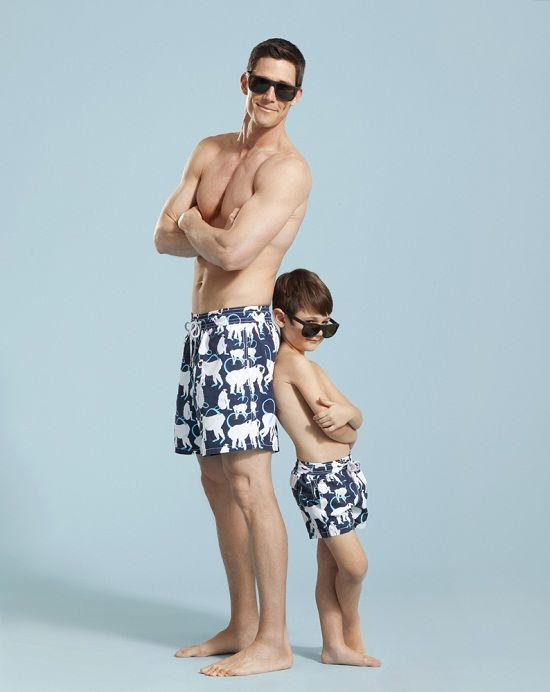 Matching father and son swimming trunks how cute for Kiptyn locke instagram