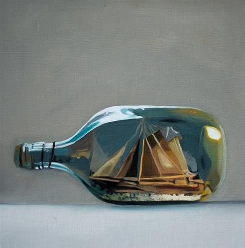 """Daily Paintworks - """"Ship in a Bottle"""" by Lauren Pretorius"""