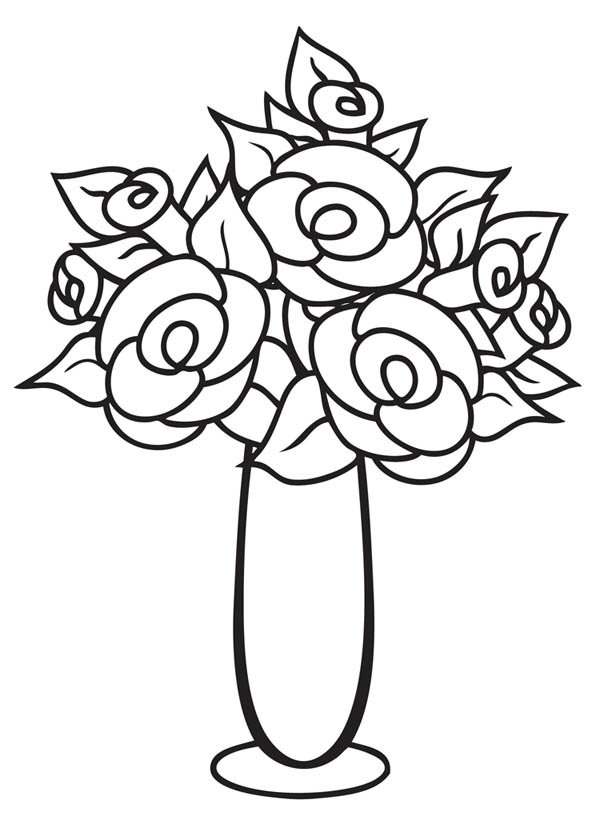How To Draw A Vase With Flowers Flower Vase Drawing Flower Drawing Roses Drawing