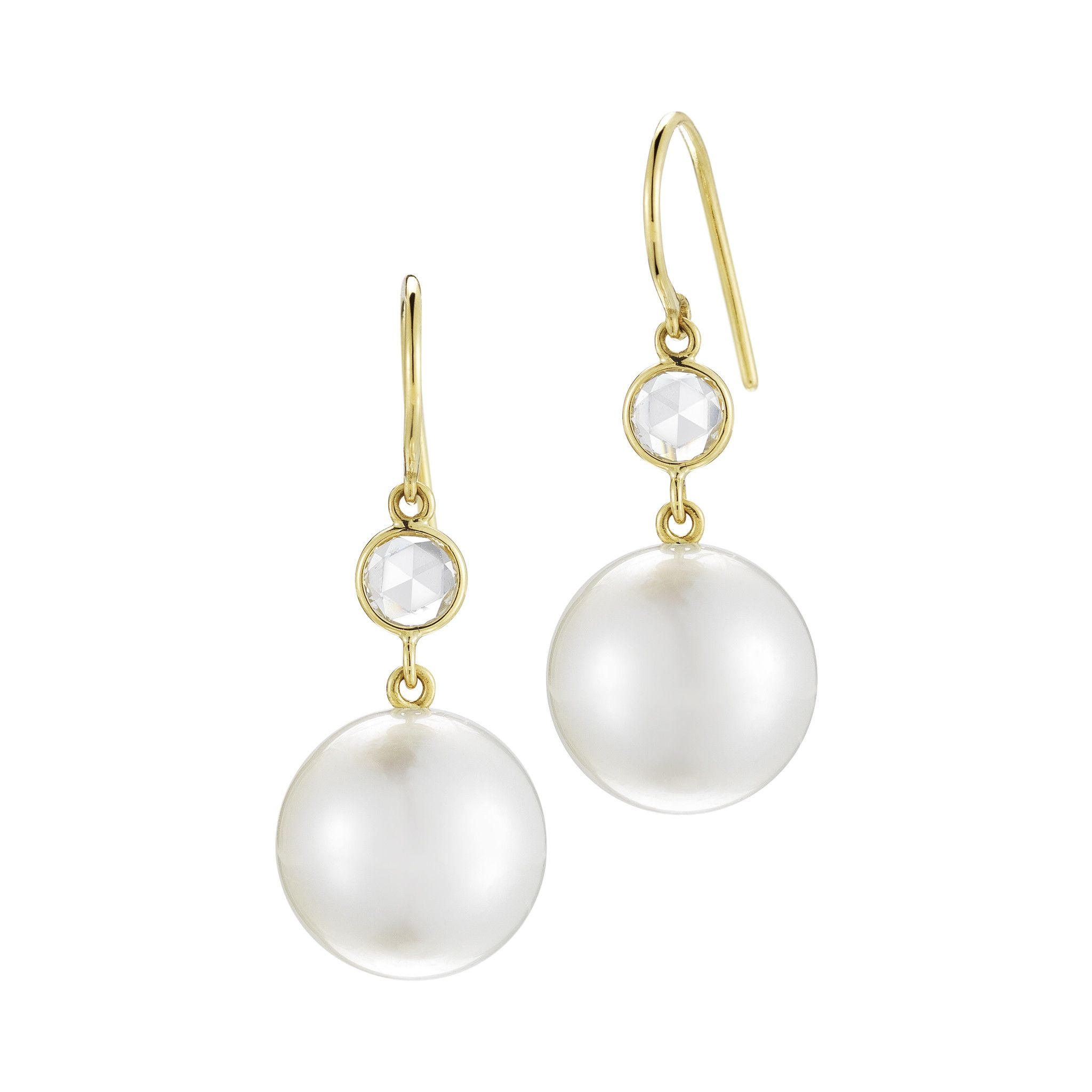 South Sea Pearl and Rose Cut Earrings
