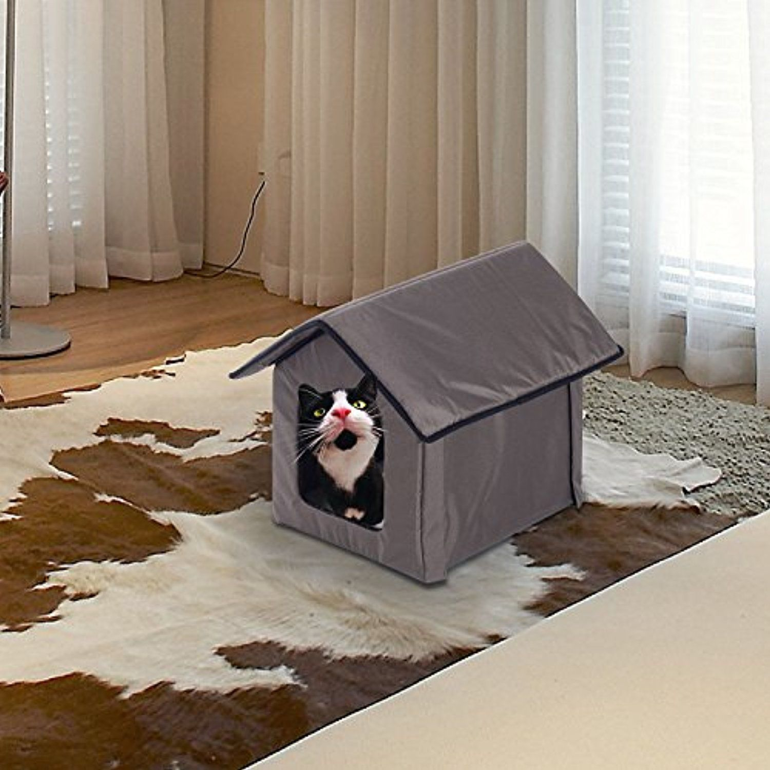 Heated Soft Cat Pet Bed Kitty House Indoor Outdoor Water Resistant Warm Shelter Want Additional Info Click On The Image This Is An Affiliate Link