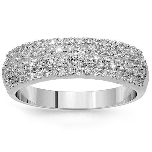 This Elegant Womens Diamond Wedding Band Is Crafted In Gleaming 14k White Gold Three Rows