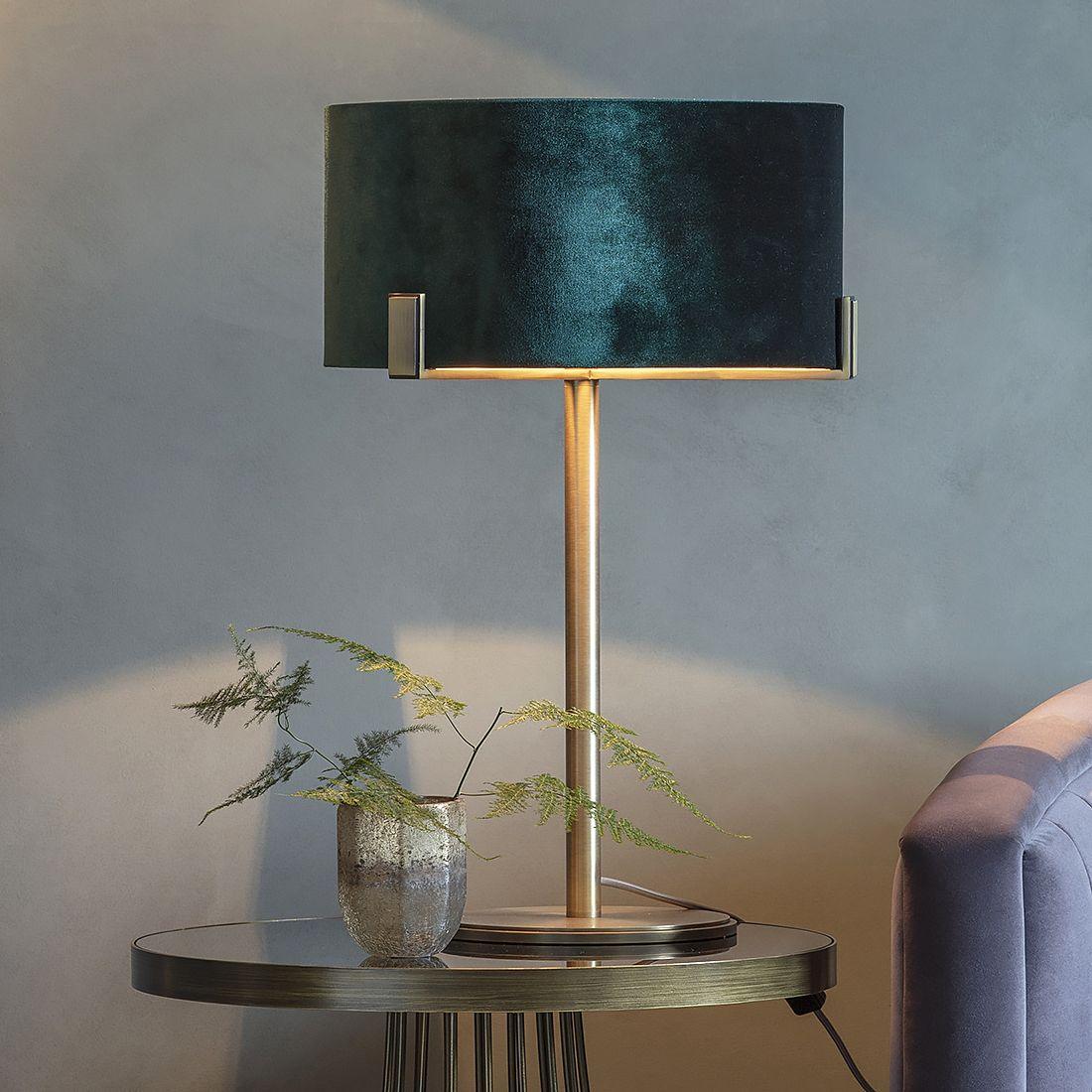 Brass Table Lamp with Peacock Green Velvet Shade | Brass