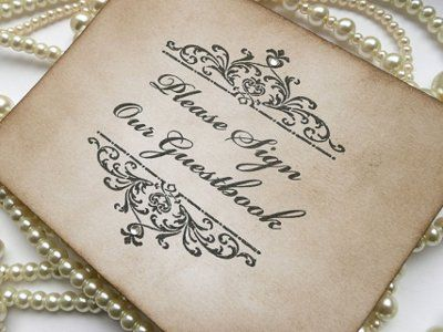 Think ornate for the wedding accessories, including the guest book