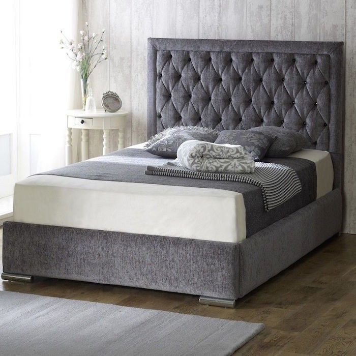Bethel fabric upholstered bed frame luxury fabric beds for Cheap king size divan