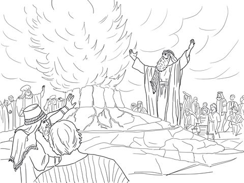 Elijah Called Down Fire From Heaven Coloring Page From Prophet Elijah Category Select From 22435 Printabl Bible Themed Art Bible Coloring Bible Coloring Pages