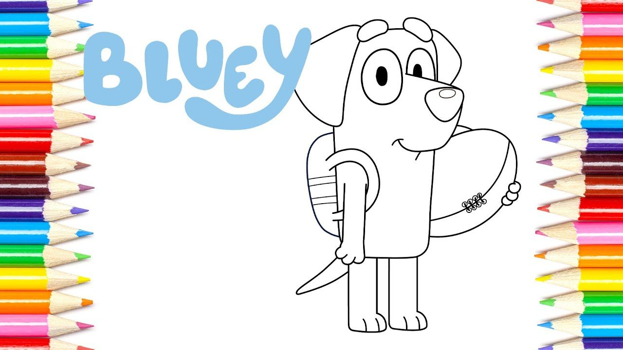 Lucky Bluey Coloring Page Video For Kids Coloring Pages Coloring Books Preschool Kids