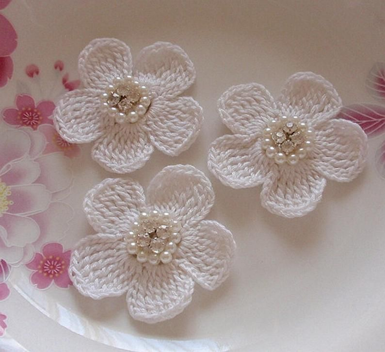 78 Pink Satin Flowers with Rhinestone and Pearl  12 flowers with 12 leaves
