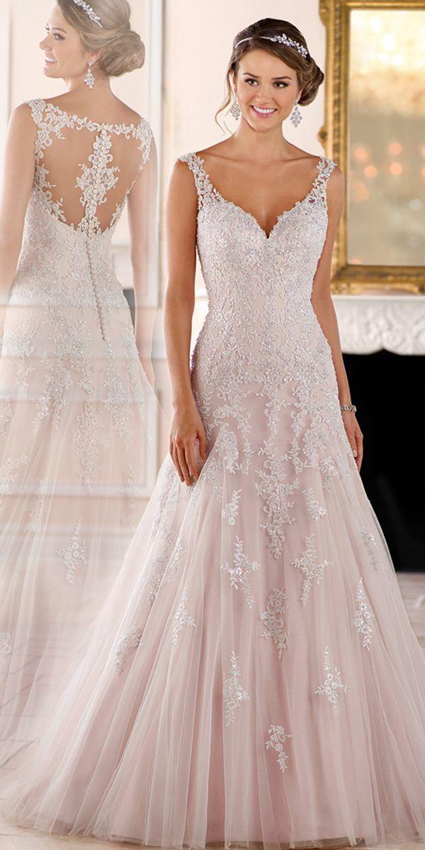 Eleganter Tüll V-Ausschnitt Ausschnitt A-Linie Brautkleider Mit Perlen Spitzenapplikationen