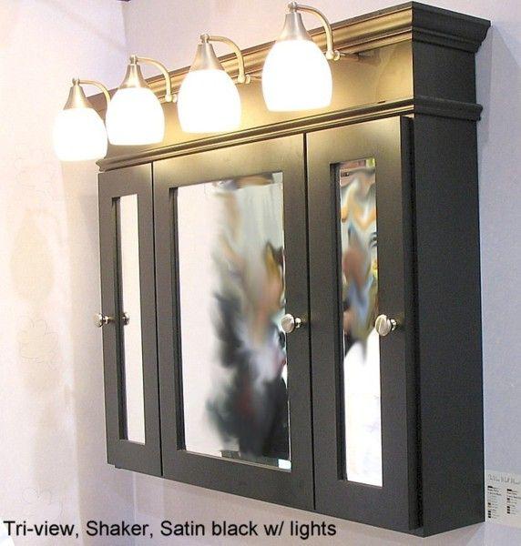 Three Door Medicine Cabinet Place Frames Around Sink Lighted