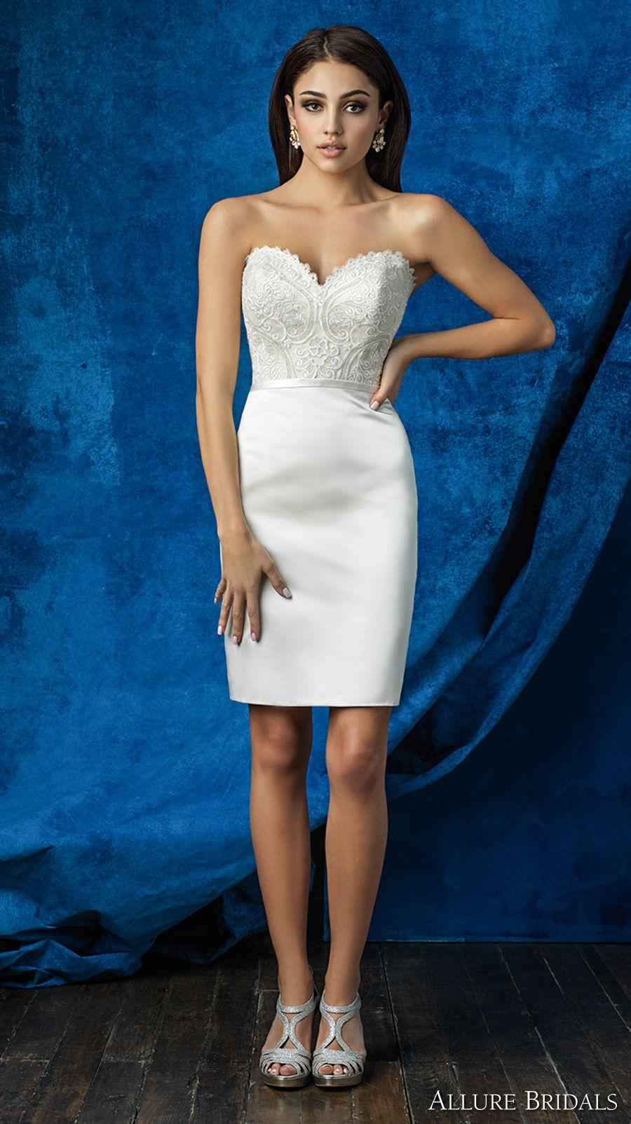 876b49c622b ALLURE BRIDALS 2016 mix match strapless scallop sweetheart neckline heavily  embellished bodice satin short skirt above the knee short wedding dress  (a2001 ...