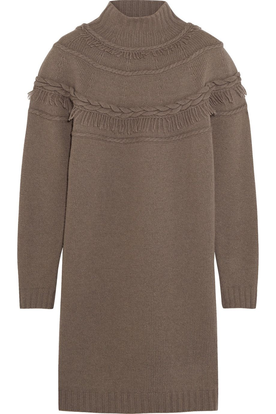 Agnona - Fringed wool and cashmere-blend mini sweater dress