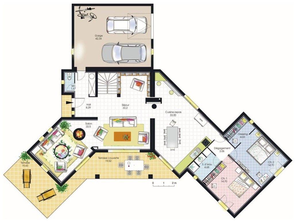 plan maison 200m2 - Plan Maison Plain Pied 200m2