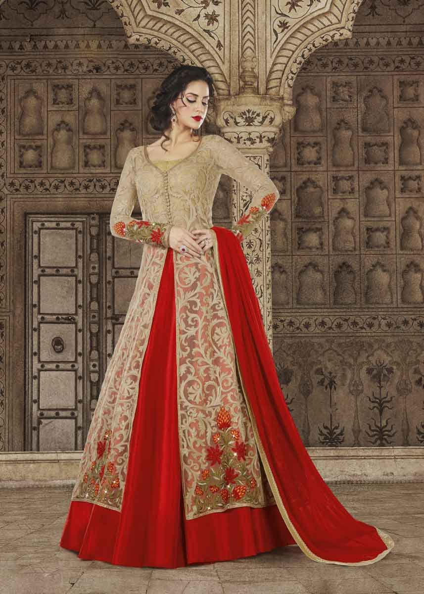 Perfect For Special Occasion This Gorgeous Beige And Red Color Heavy Embroidered Wedding Wear Anarkali Salwar Kameez Is An Ultimate Inclusion In Your