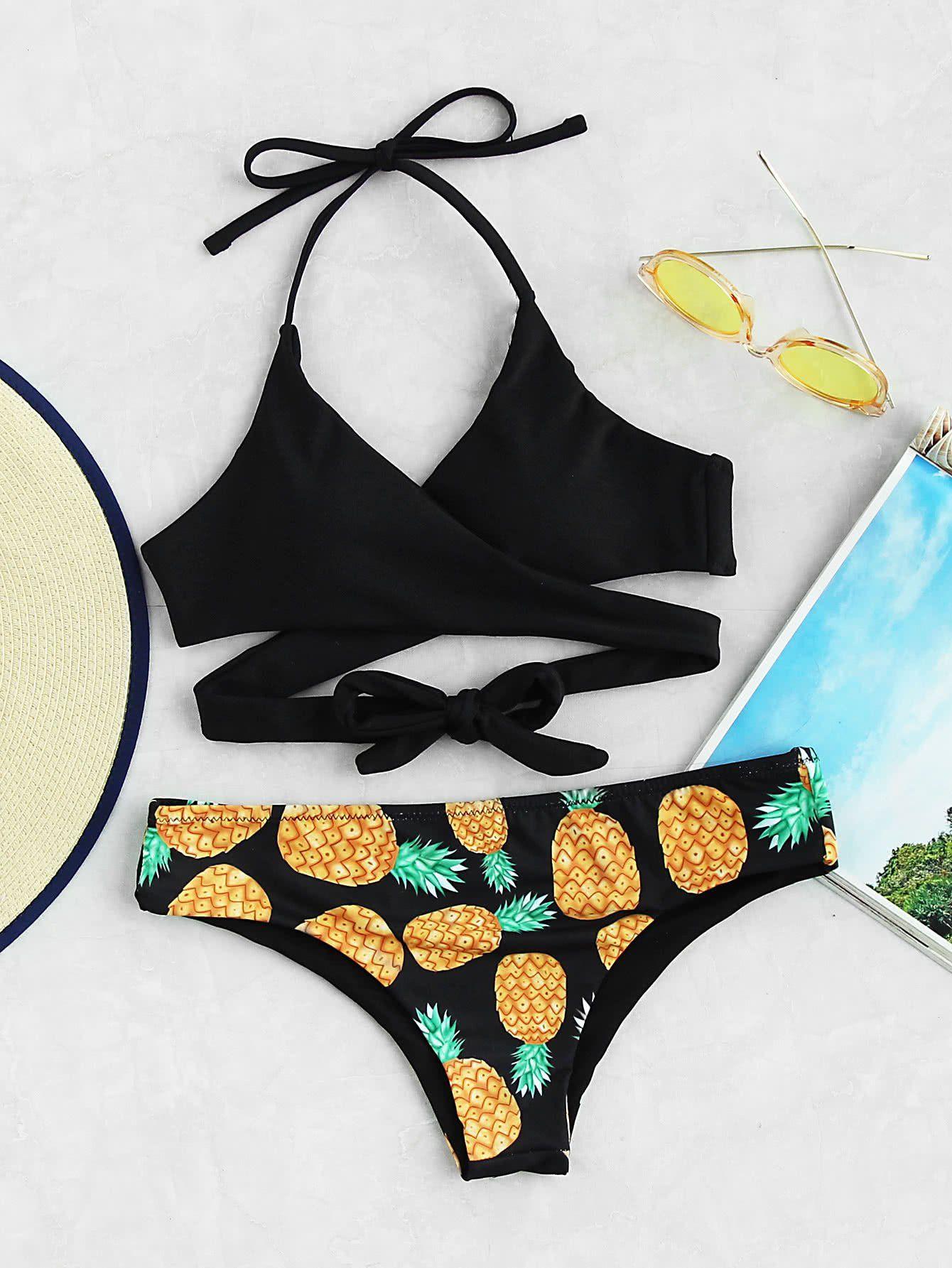 52e26c5464 Pineapple Print Wrap Bikini Set BLACK in 2019   cute bikinis ...