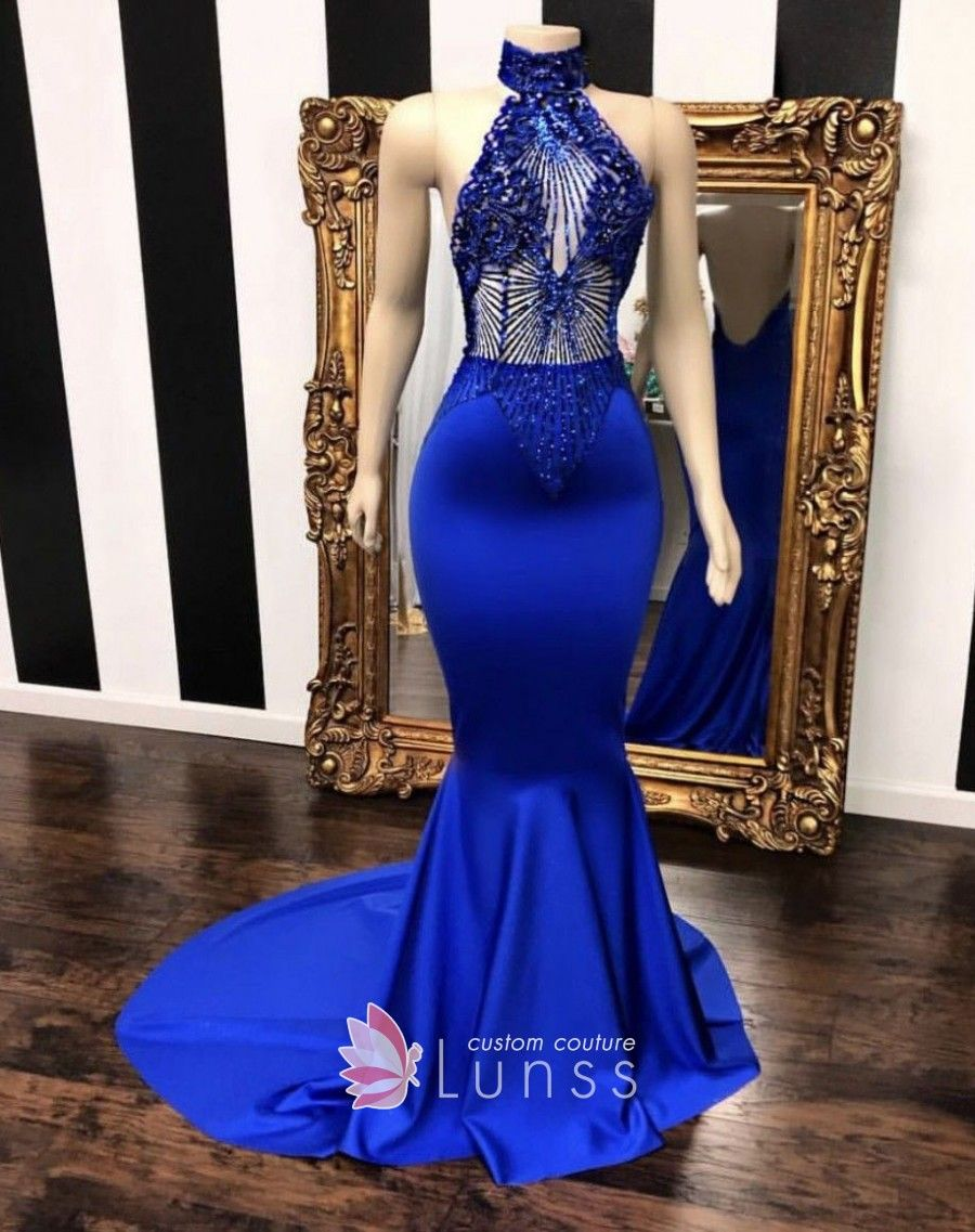 High neck halter beaded royal blue satin prom dress. Sleeveless. Illusion  beading bodice. Mermaid long prom dress with sweep train. f8af7cd061cc