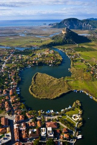 Aerial view of Dalyan, Koycegiz, Mugla, TÜRKİYE