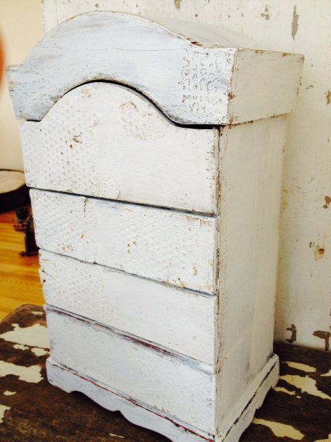 LARGE WOODEN JEWELRY Shabby Chic Rustic Box White Distress Wood