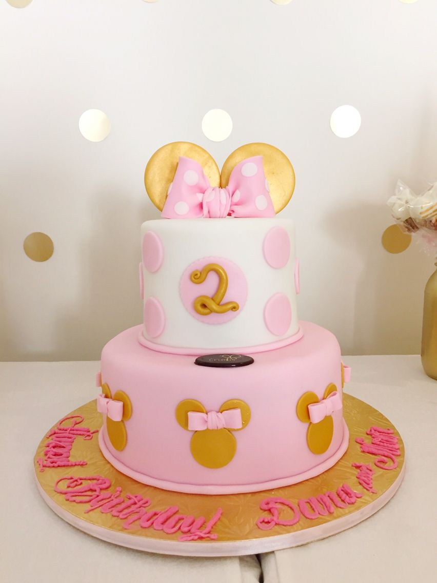 Pink Gold Minnie Mouse Birthday Cake 2nd Birthday ideas