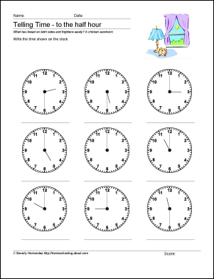 10 Worksheets To Help Your Child Tell Time By Half Hour Time Worksheets Telling Time Worksheets Math Worksheets