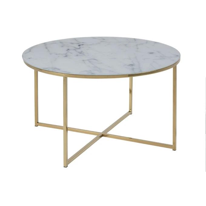 Table Basse Effet Marbre Et Pieds Metal 80 Cm Silas Dore Miliboo La Redoute Table Basse Ronde Table Basse Table Basse Design