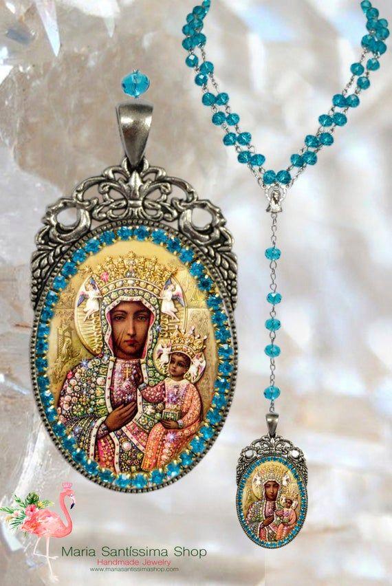 Black Madonna of Czestochowa - Rosary - Patroness of Poland - Handmade Catholic Christian Jewelry Pendant